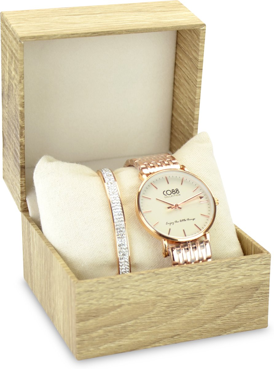 CO88 Collection Gift Set 8CO SET033 Horloge Geschenkset - Horloge met Armband - Ø 36 mm - Rosékleurig kopen