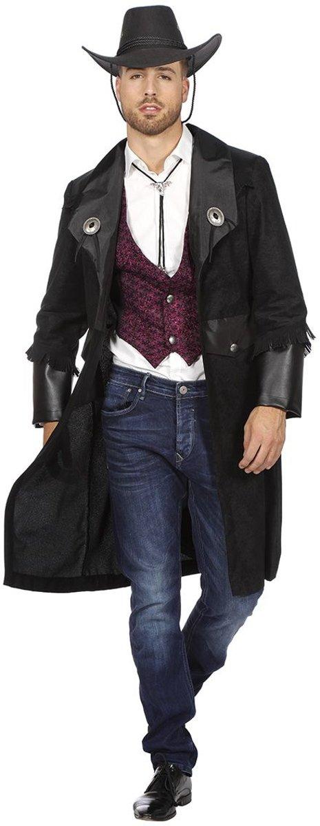 Afbeelding van product Wilbers  Huurmoordenaar Kostuum   Lange Jas Bounty Hunter Cowboy Man   Maat 60   Carnaval kostuum   Verkleedkleding