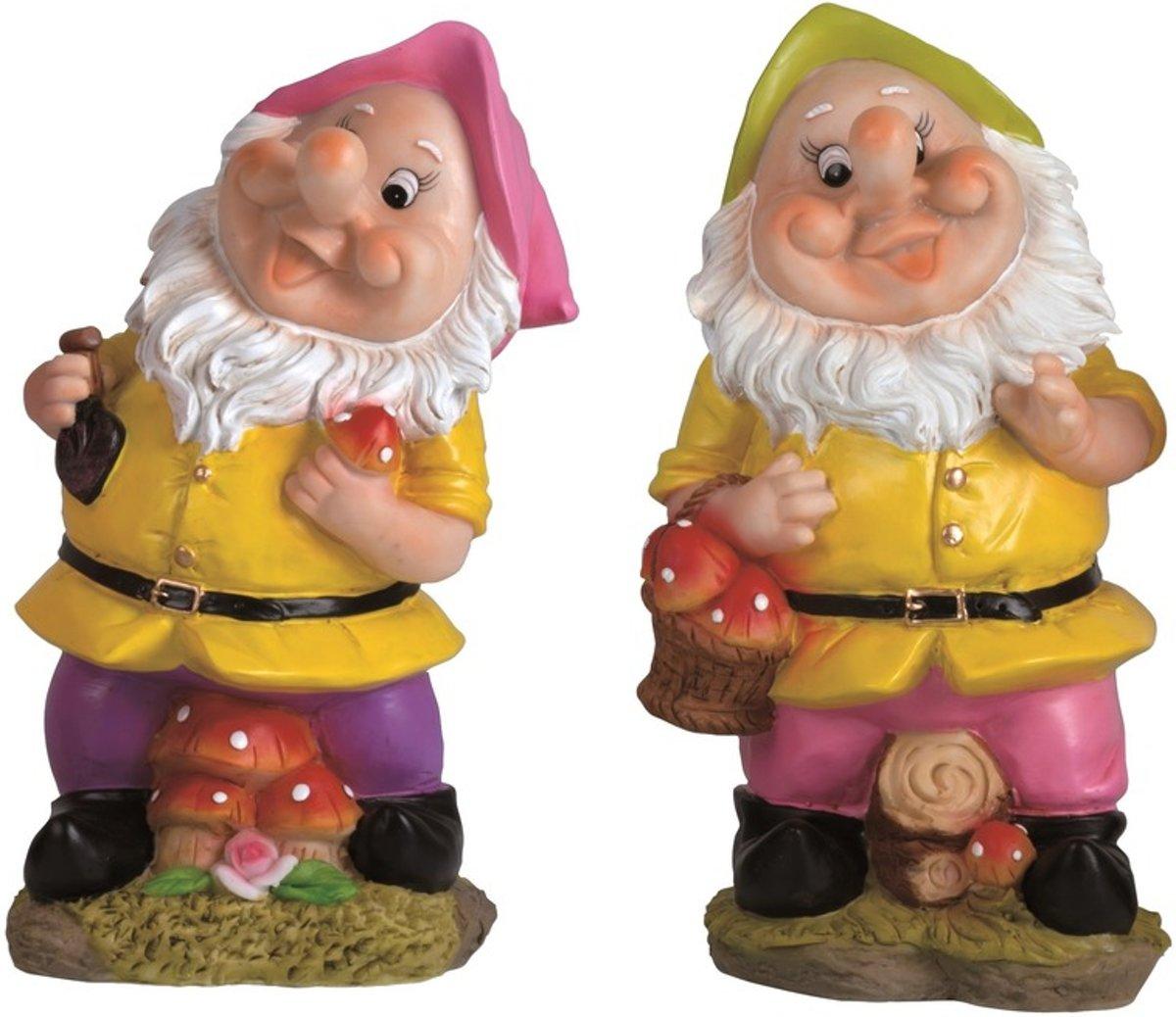 2x Tuinkabouters 30 cm roze/groene muts