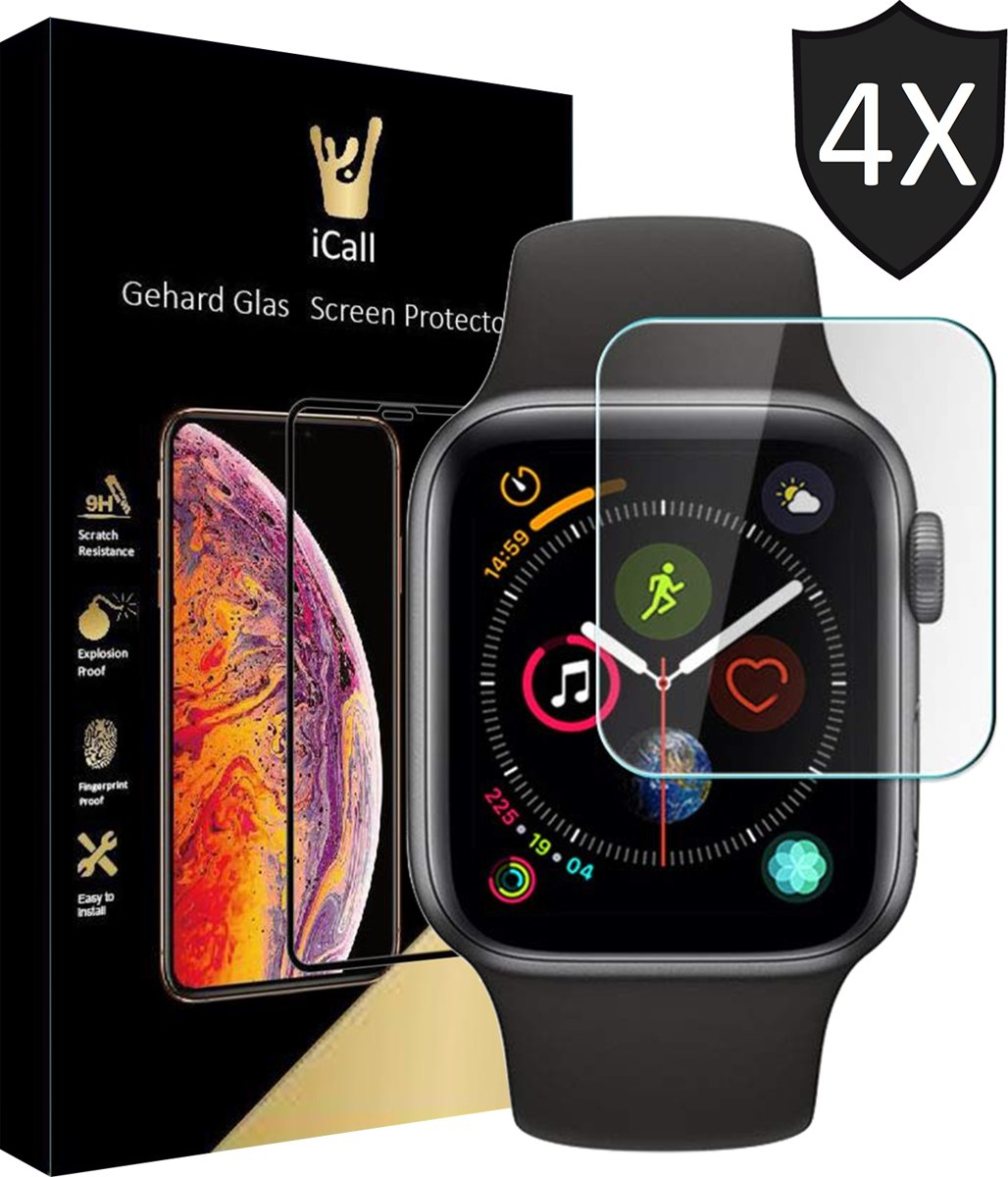 4x Apple Watch Series 1 / 2 / 3 38 mm Screenprotector Glazen Gehard | Tempered Glass Screen Protector iCall kopen