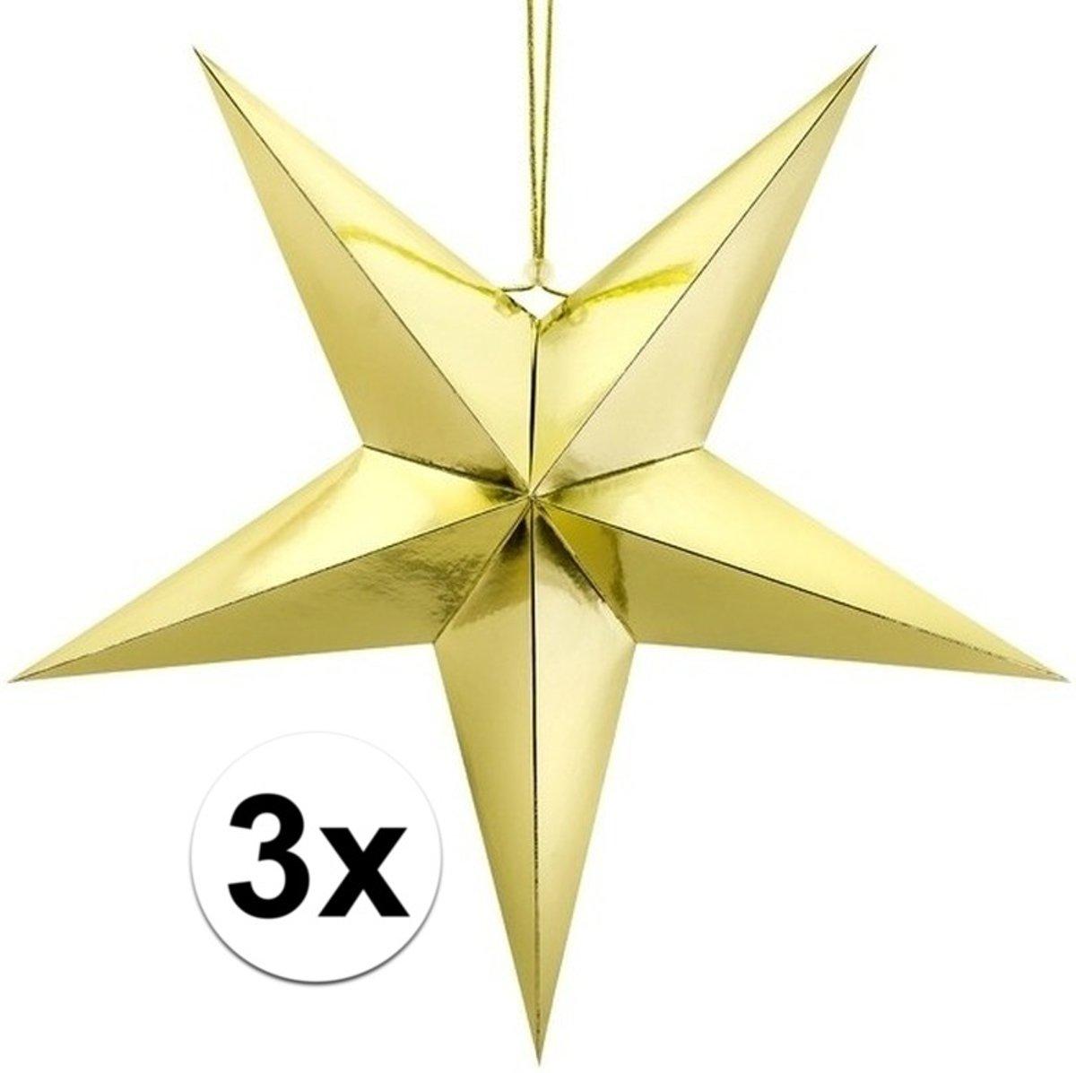 3x Gouden sterren 70 cm Kerst decoratie/versiering kopen