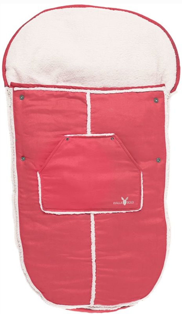 Wallaboo voetenzak - prachtig suède gevoerd met  bont - geschikt voor 6 tot 36 maanden - past in elke kinderwagen - rood kopen