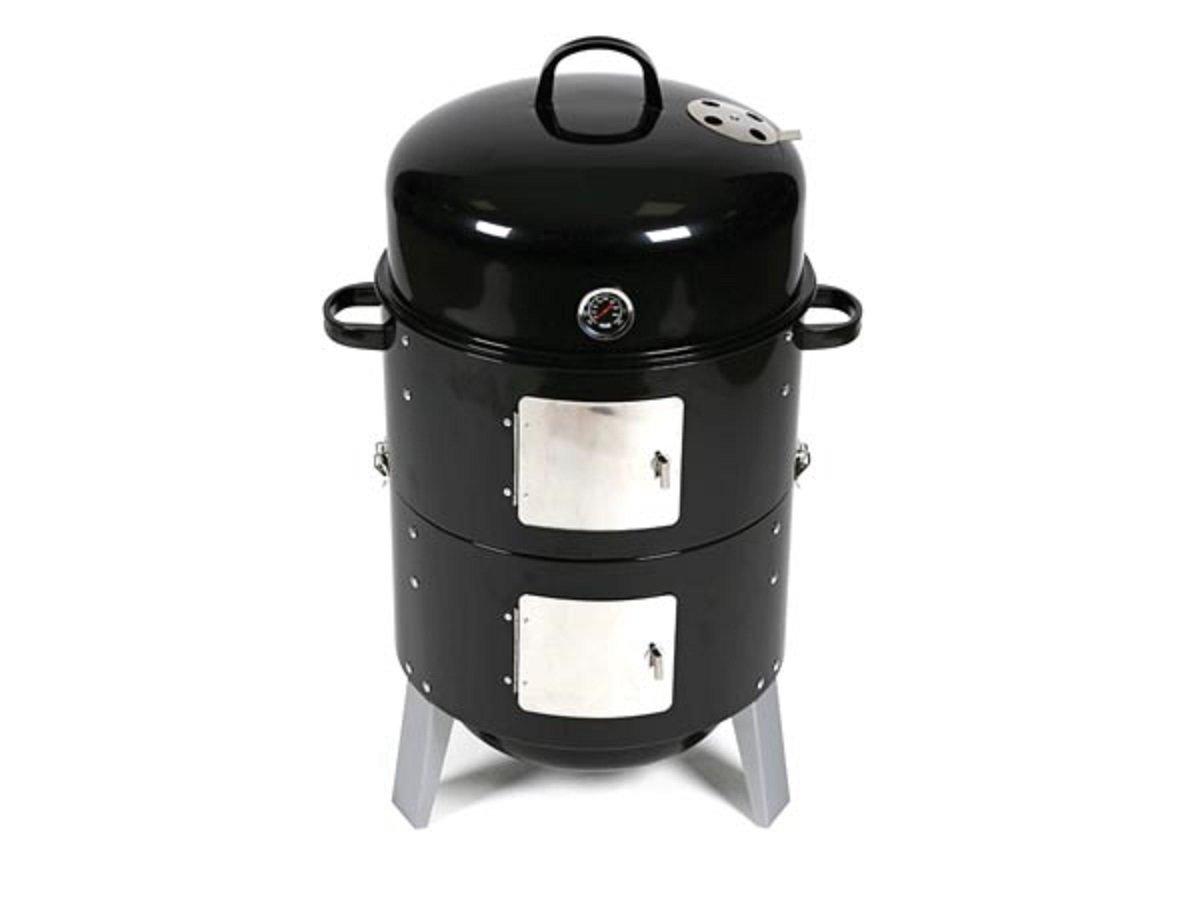 barbecue rookoven met thermometer en haken - zwart kopen