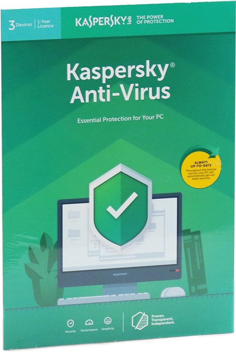 Kaspersky Anti-Virus | 3 Apparaten | 1 Jaar | Engelse verpakking | Alle Europese talen kopen