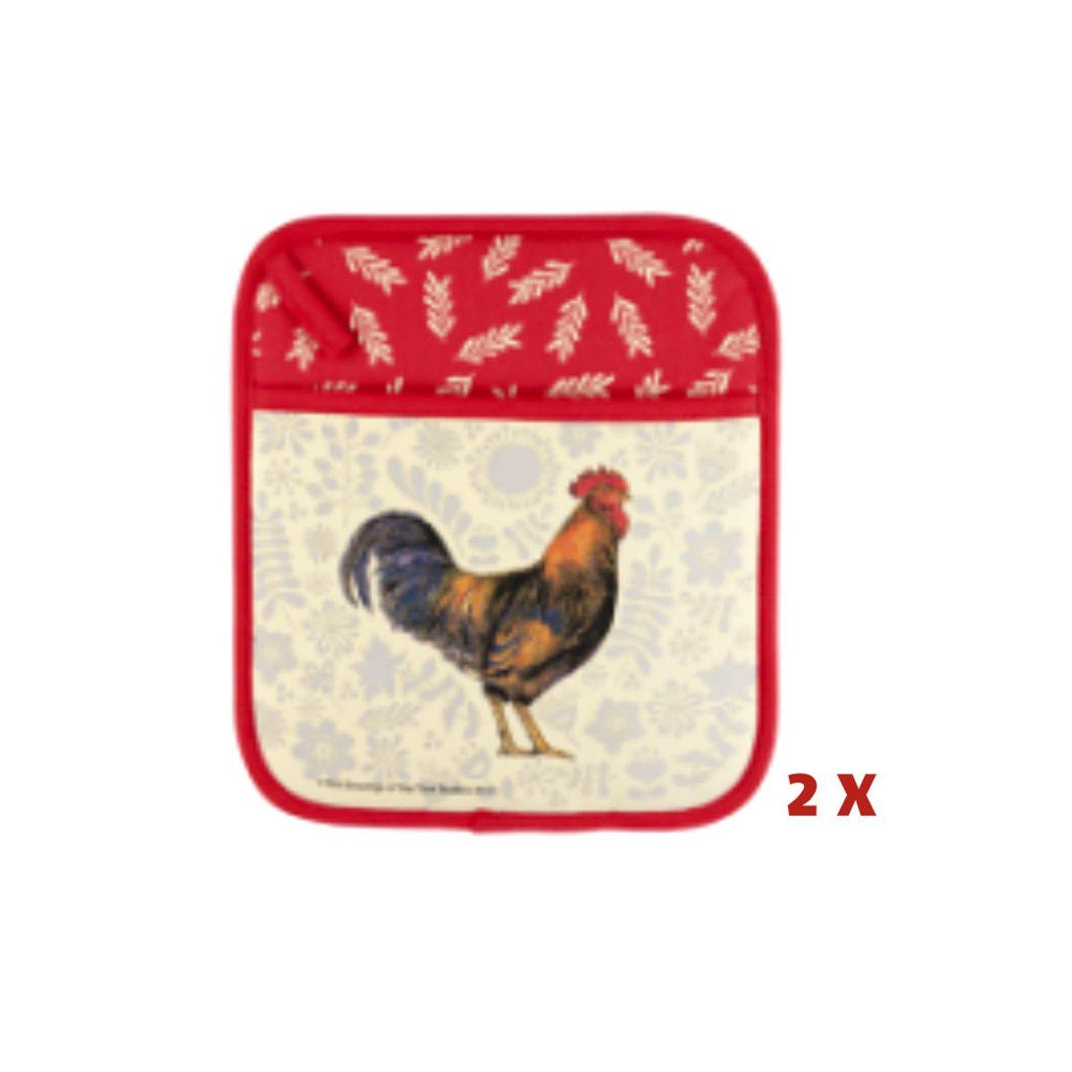 Twee pannenlappen kip / haan thema dieren cadeaus keukentextiel kopen