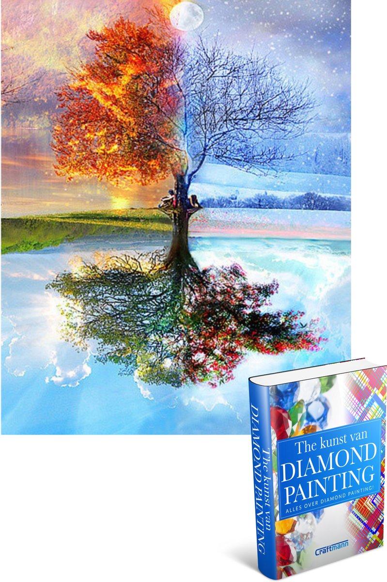 Afbeelding van product Craftmann  Crafterman™ Diamond Painting Pakket Volwassenen - volledige bedekking - hobby pakket - 4 seizoenen boom - 30x40cm - Met tijdelijk E-Book