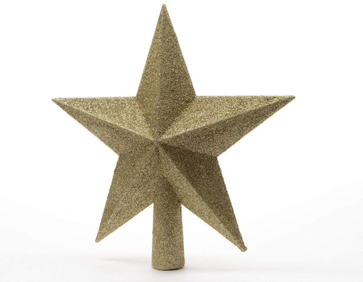Piek plastic ster glitter diameter 19 cm licht goud kopen