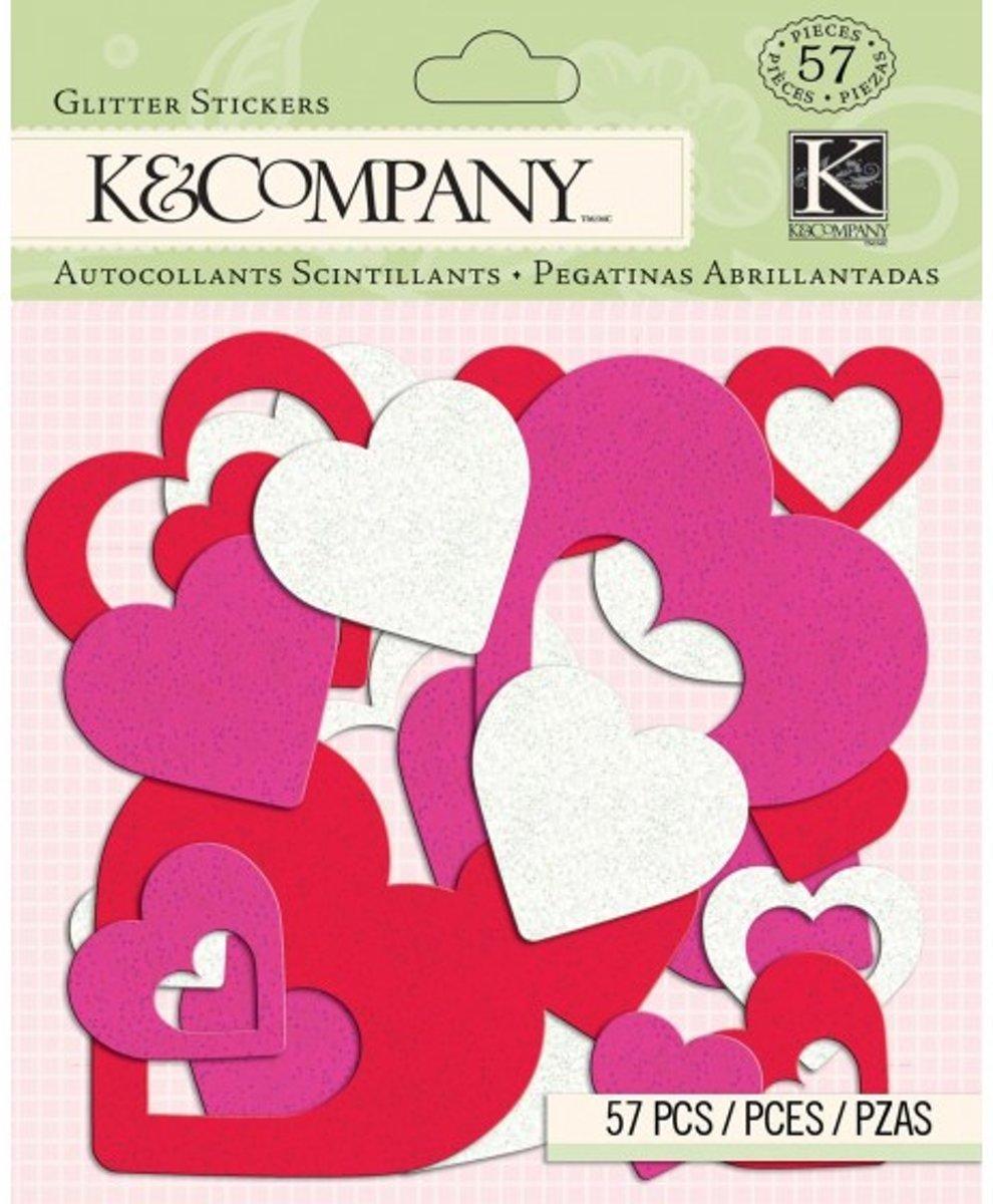 Afbeelding van product K&Company smooch heart foam glitter stickers x57