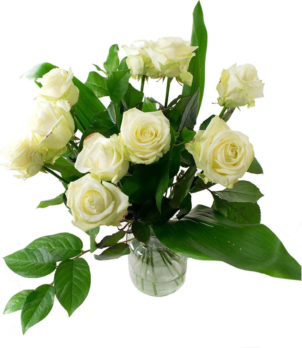 Witte rozen boeket Avalanche - Large kopen