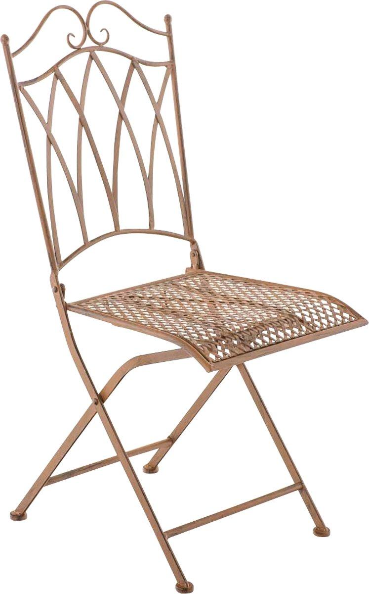 Clp Metalen klapstoel LUNIS, in nostalgisch design, tuinstoel, bistrostoel, balkonstoel, terrasstoel, patiostoel, Vouwbare tuinstoel met edele ornamen