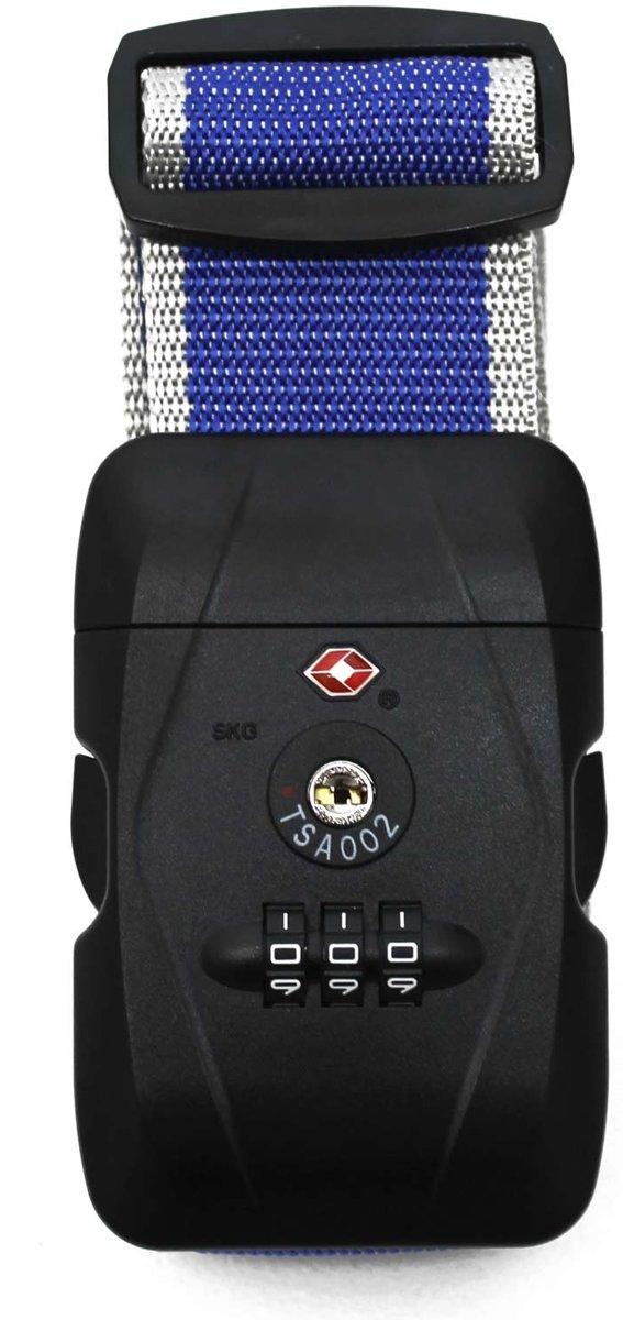 Karry Kofferriem Blauw Grijs TSA-slot 105-193cm kopen