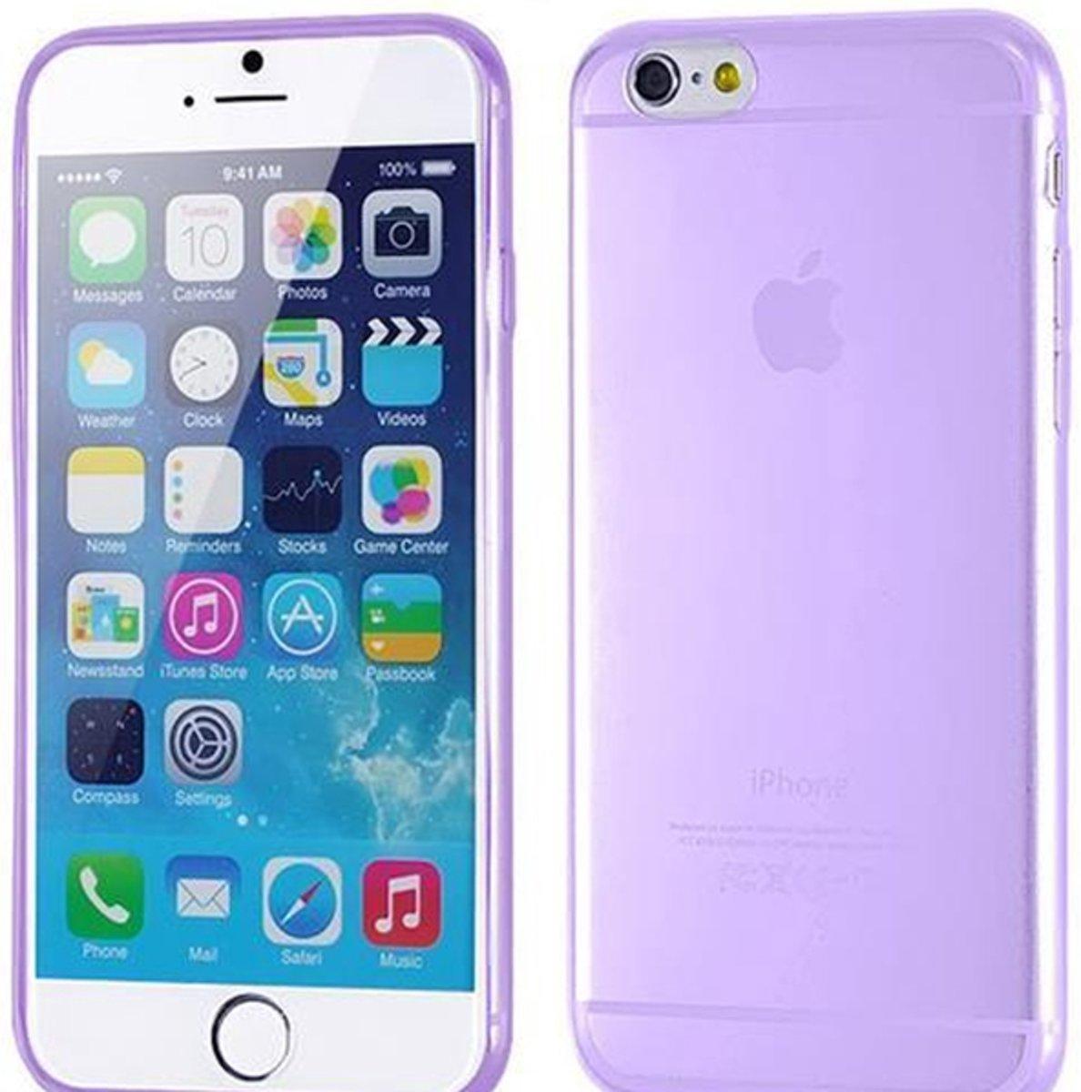 Paars silicone (flexibel) telefoonhoesje/case/cover voor iPhone 6 (S) kopen