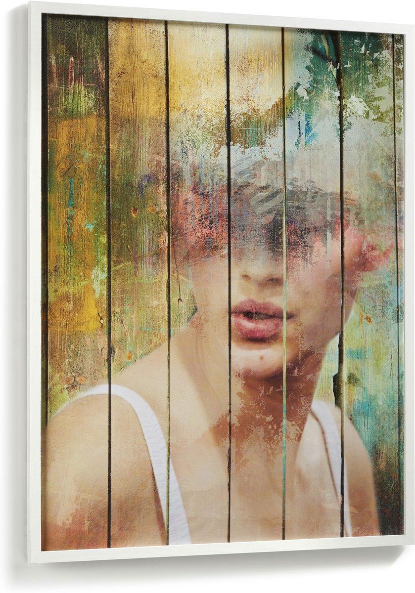 Kave Home Ariella Doek met print en lijst - Wit - 78x103cm kopen