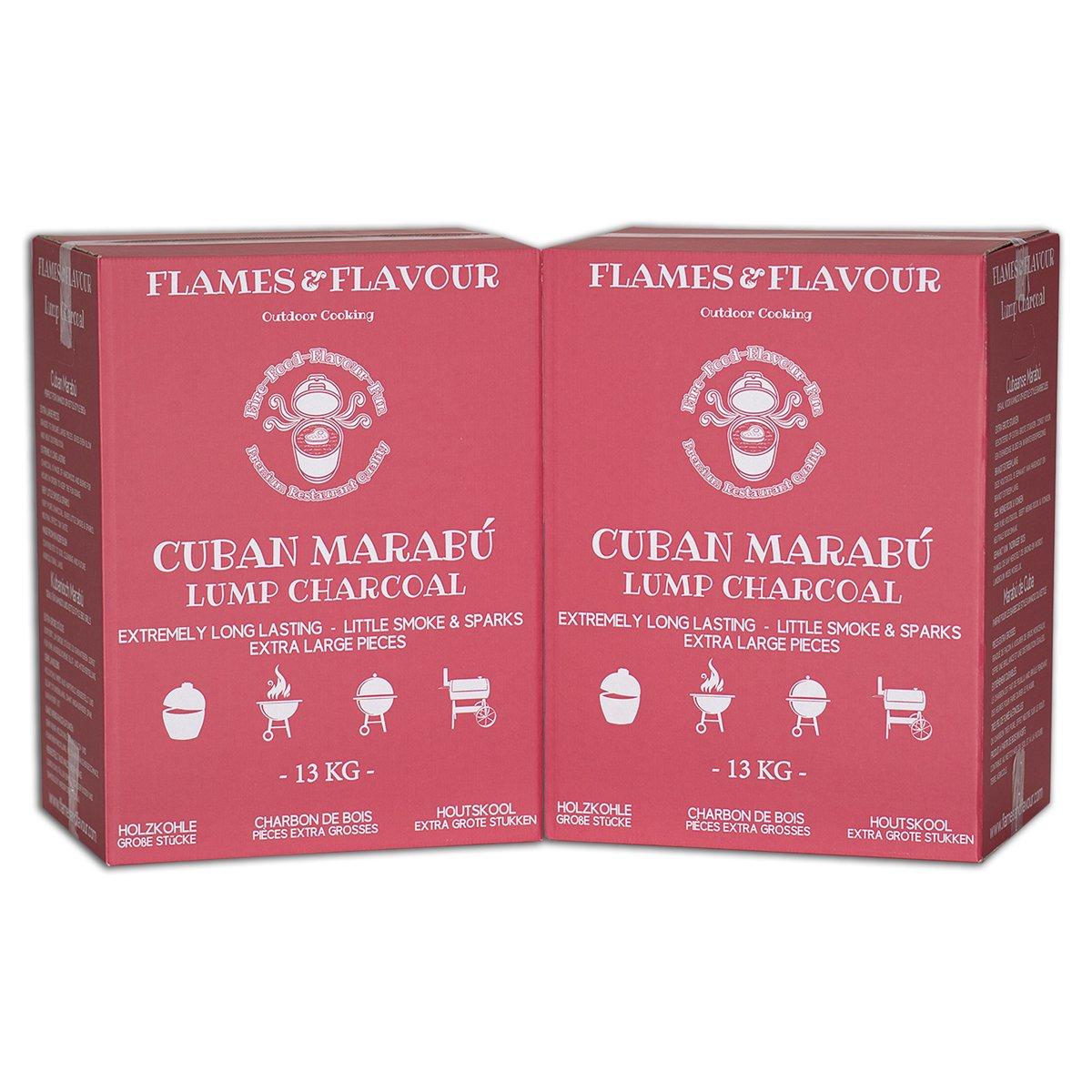 Cubaanse Marabu Houtskool Volume Voordeel 26 KG van Flames & Flavour Premium Restaurant Houtskool kopen