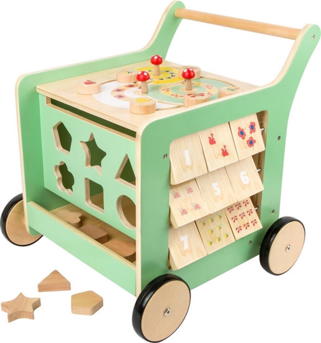 Loopwagen hout met activiteiten (baby walker) - Move it! - groen - Houten speelgoed vanaf 1 jaar - FSC®