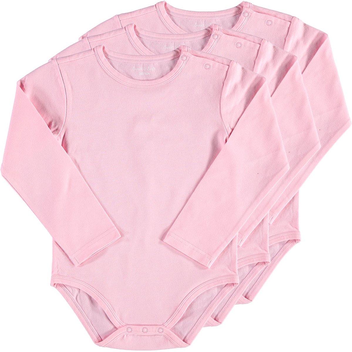 Zeeman - Meisjes lange mouw romper van biologisch katoen - maat 62/68 - roze - 3 stuks