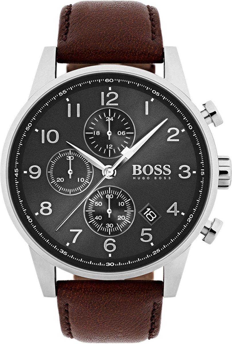 Hugo Boss HB1513494 Navigator Horloge - Leer - Bruin - Ø44 mm