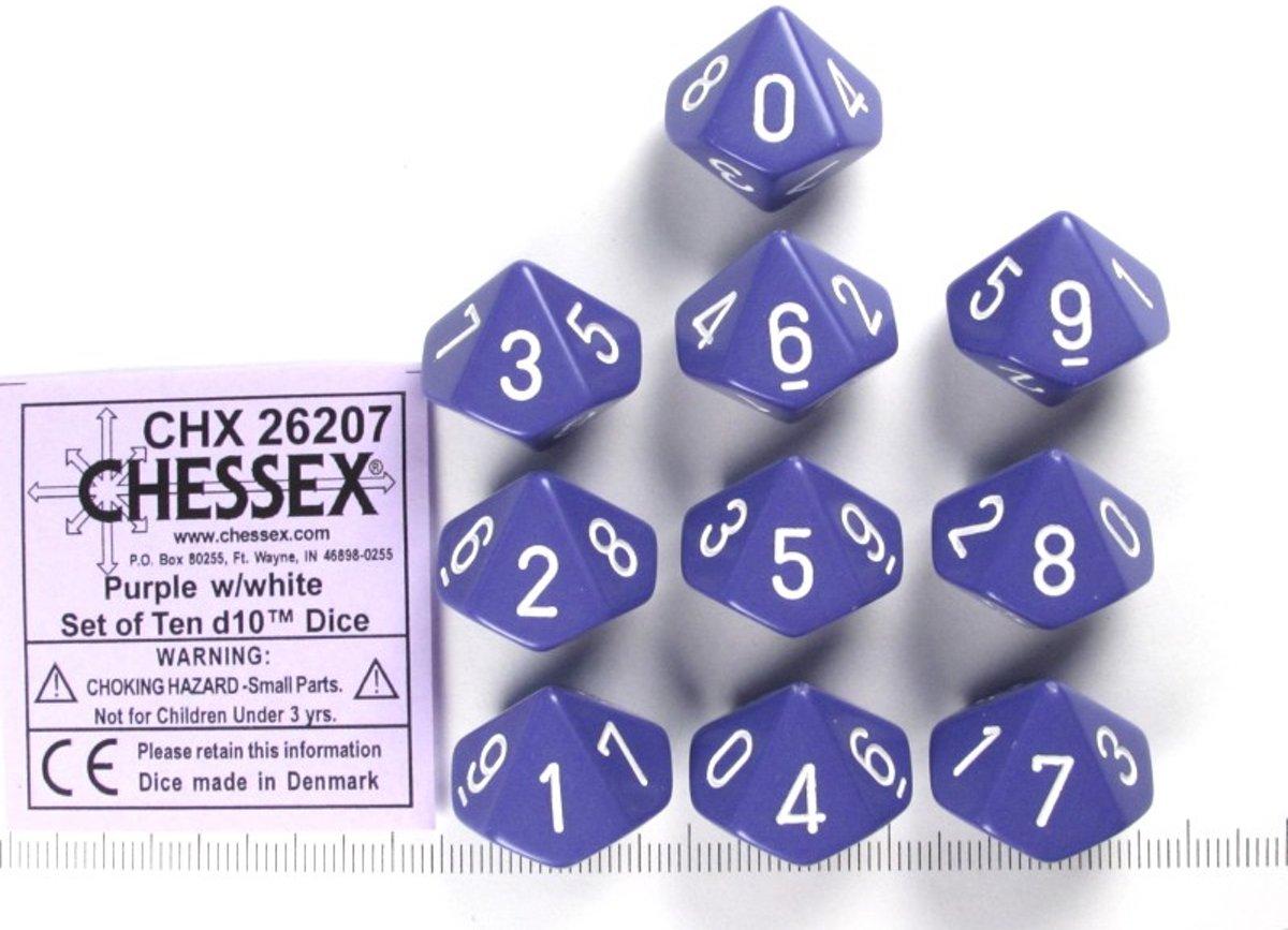 Chessex dobbelstenen set, 10 10-zijdig Opaque Purple w/white