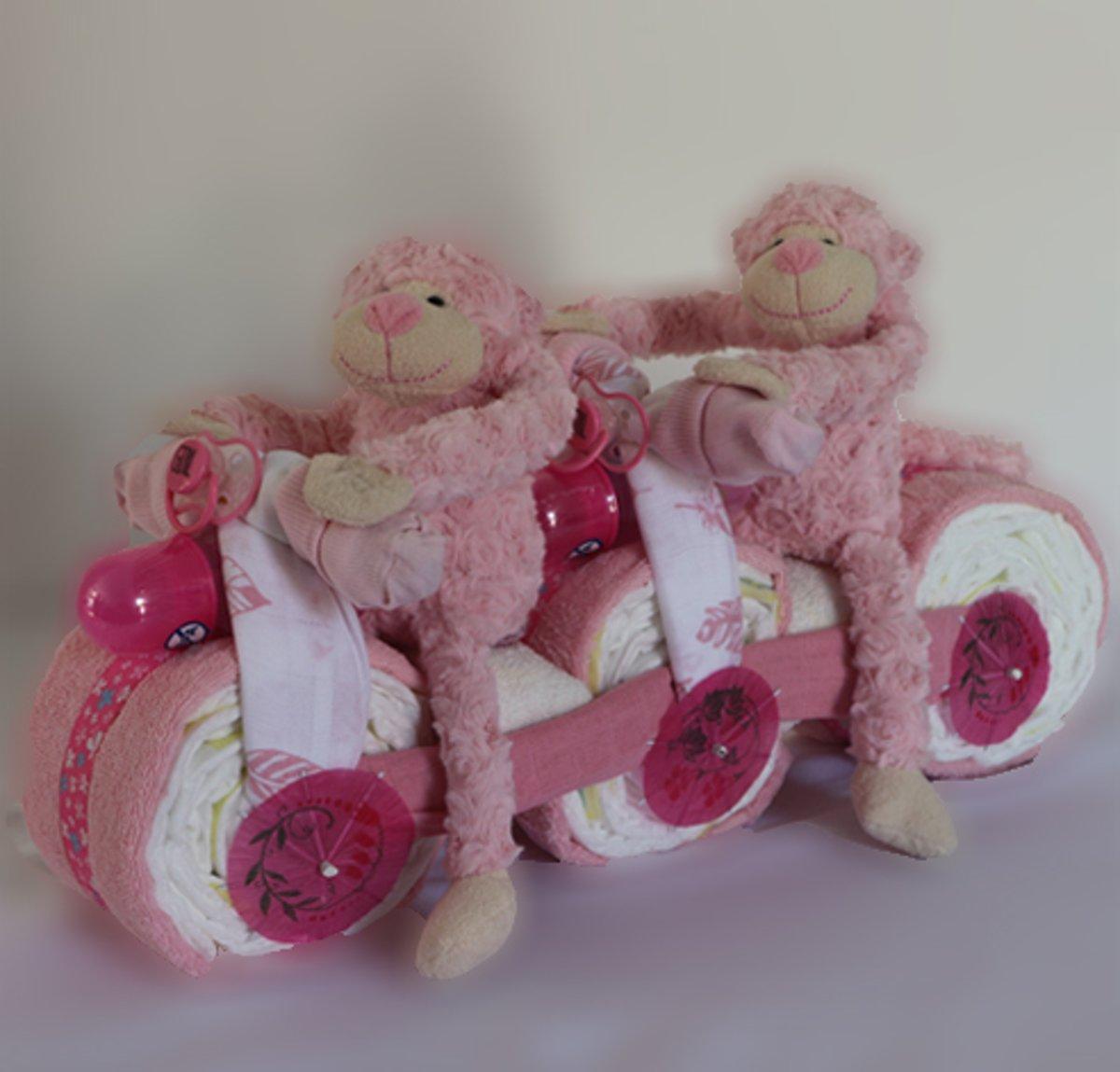 Tweelingscooter - Luiertaart Roze/Roze kopen