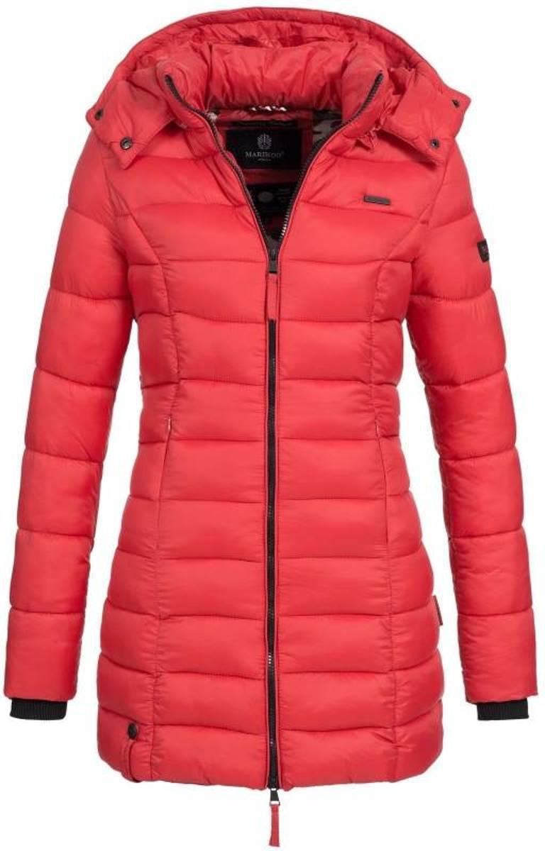 | Marikoo dames gewatteerde jas met capuchon ocean rood