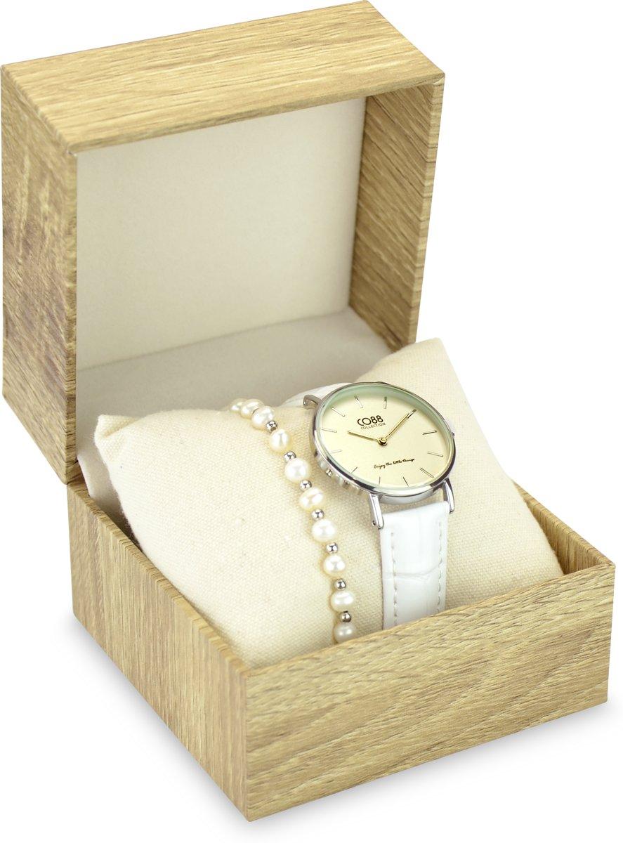CO88 Collection Gift Set 8CO SET037 Horloge Geschenkset - Horloge met Armband - Ø 32 mm - Zilverkleurig / Wit kopen