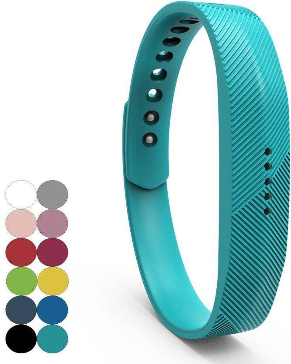 Siliconen sportbandjes voor de Fitbit Flex 2 met druksluiting - Turquoise kopen