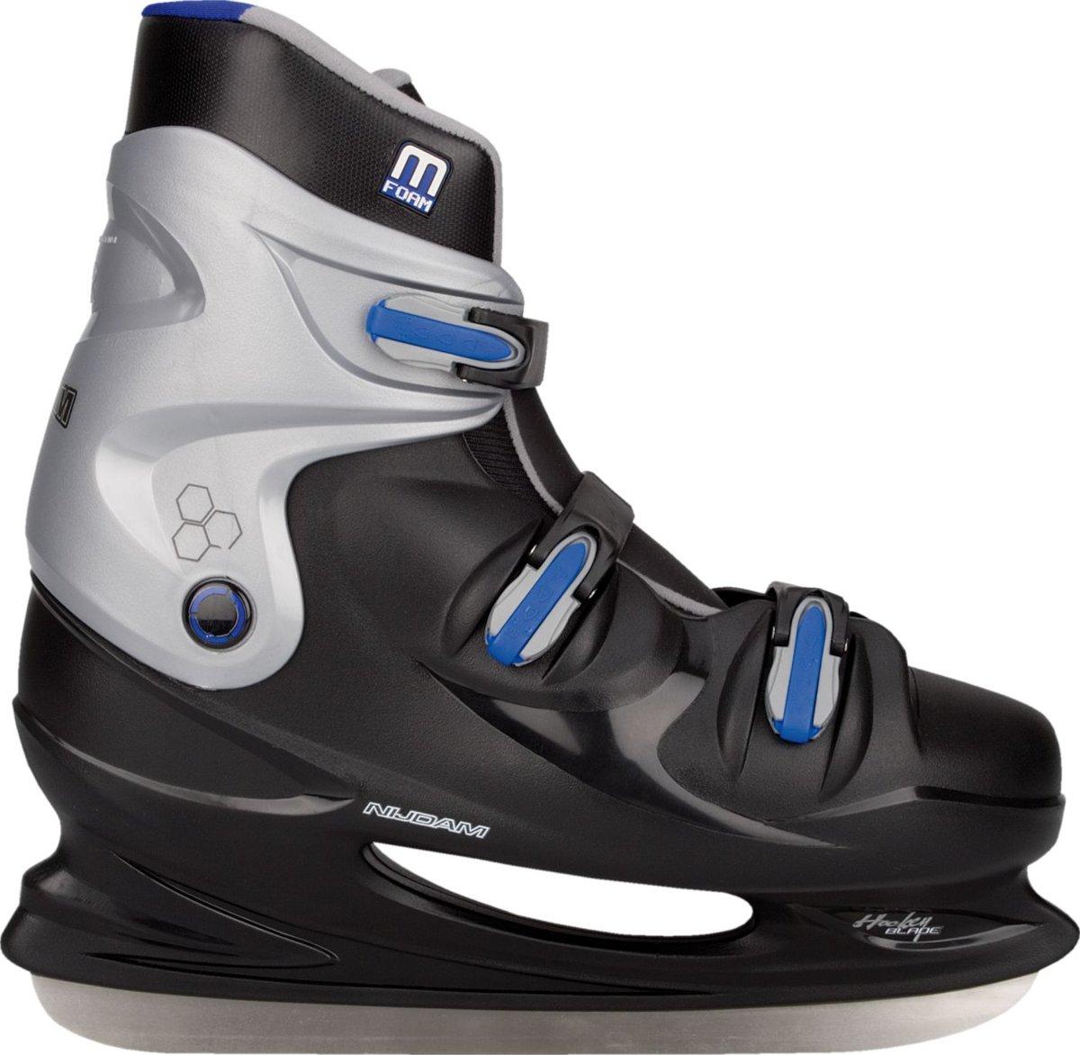 Nijdam 0099 IJshockeyschaats XXL - Hardboot - Zwart/Blauw - Maat 49