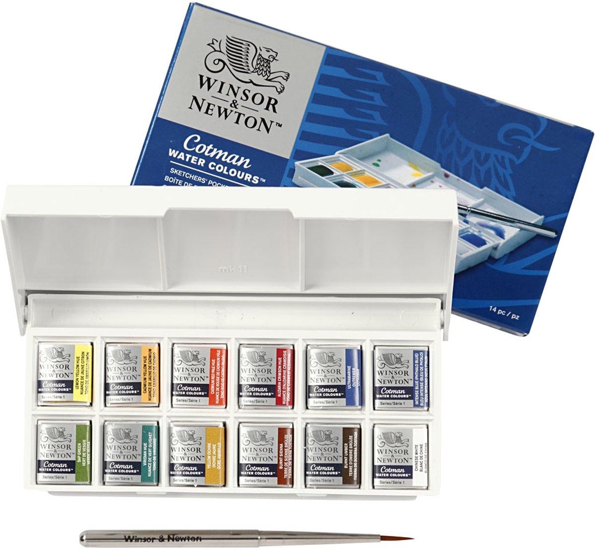 Winsor & Newton Cotman Aquarelverf Sketchers Pocket Box 12 halve napjes + penseel