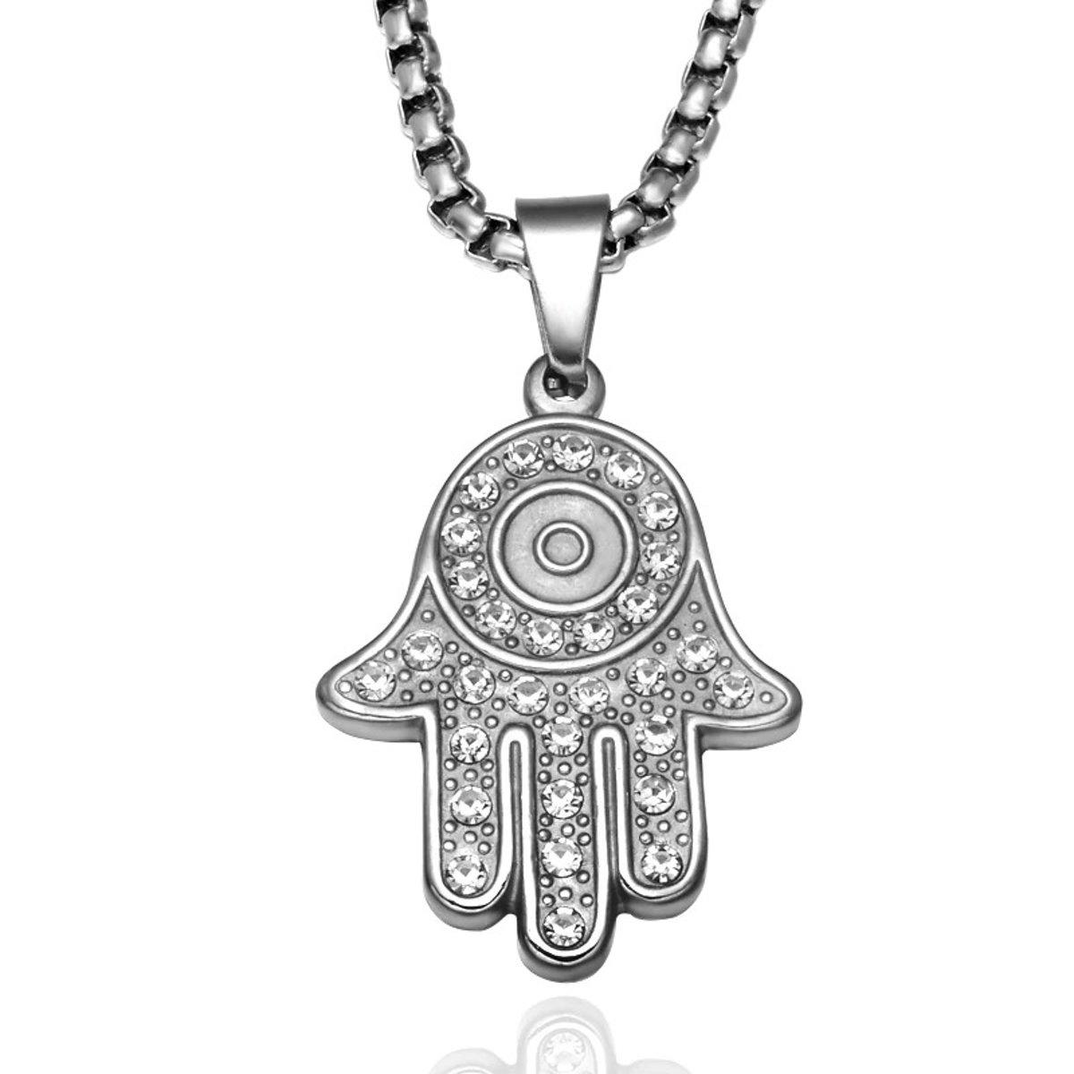 Hamsa Hand Ketting Met Hanger - De Hand Van Fatima - Fatimas Hand - Geluk Bescherming Symbool Decoratie Amulet - Zilver Kleurig kopen
