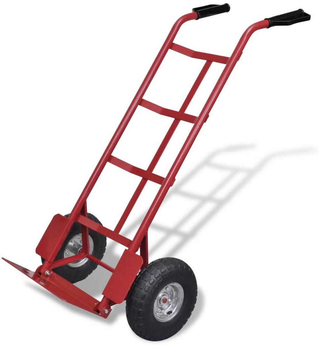 Steekwagen metaal (Rood/Zwart) (incl. Werkhandschoenen)