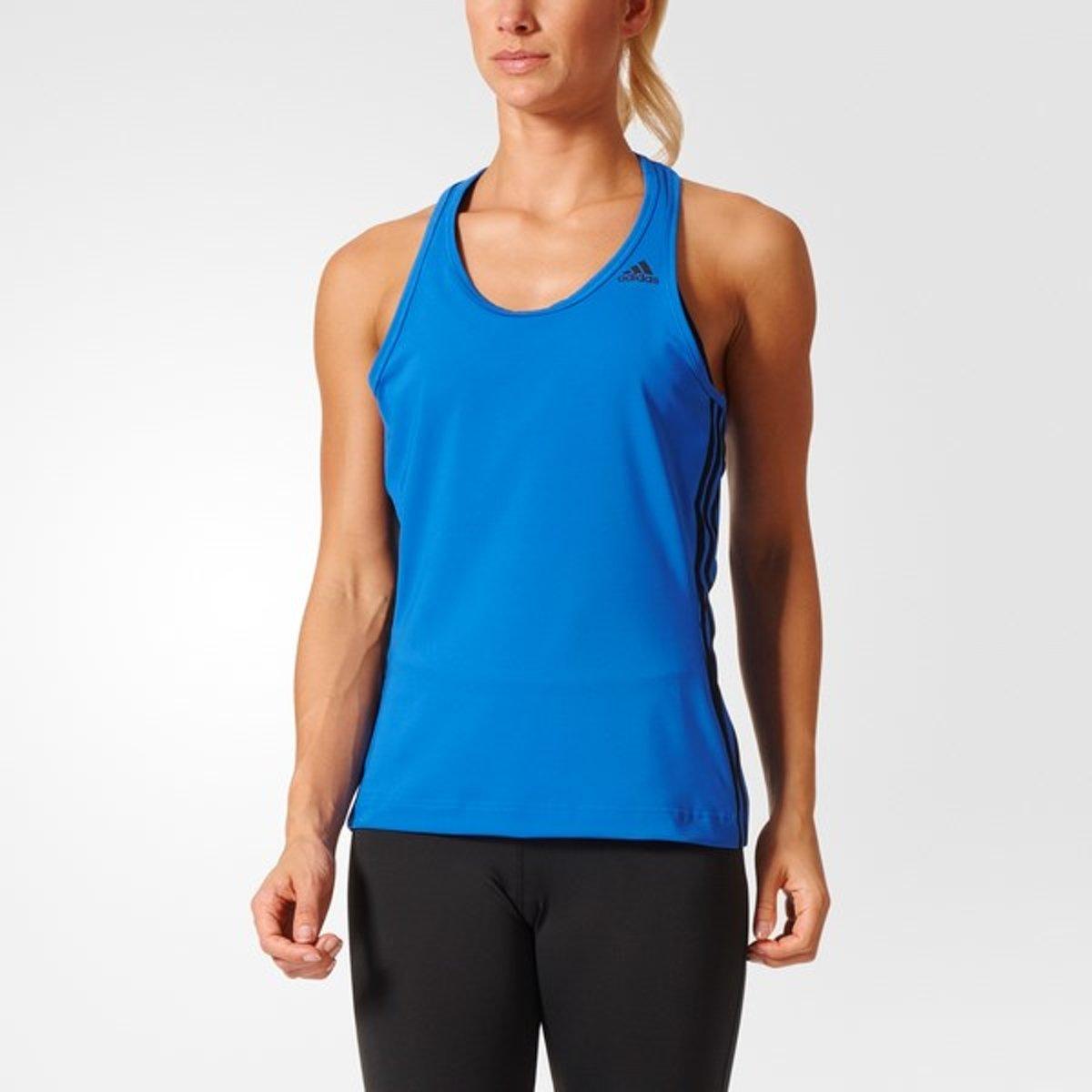 adidas Design to Move 3-Stripes Tank - Sportshirt - Dames - XS - Blue thumbnail