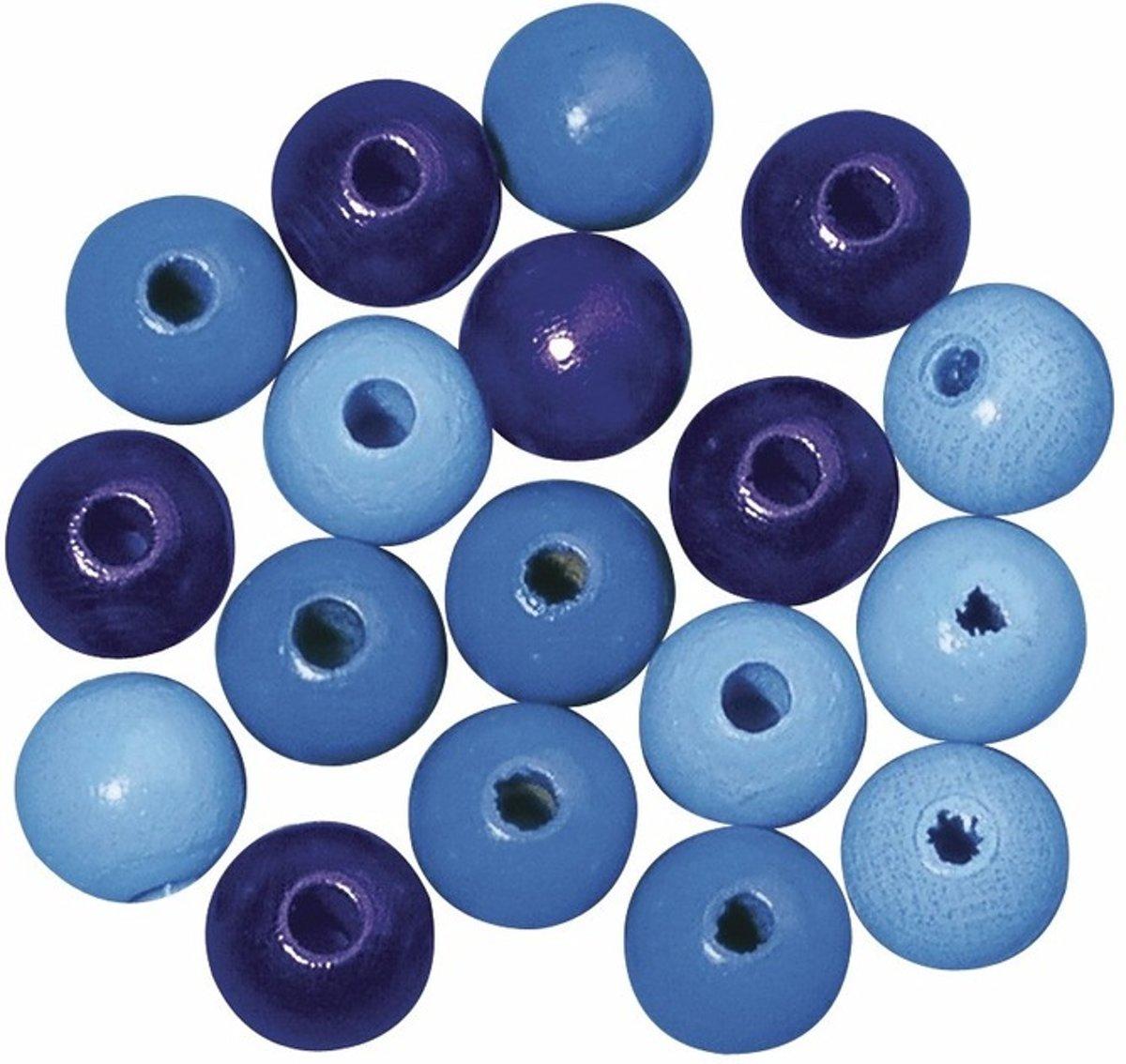 Blauw gekleurde houten kralen 6 mm kopen