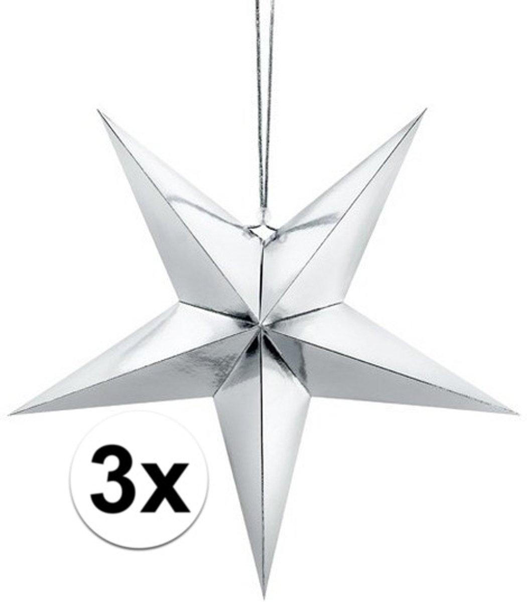3x Zilveren sterren 30 cm Kerst decoratie/versiering kopen