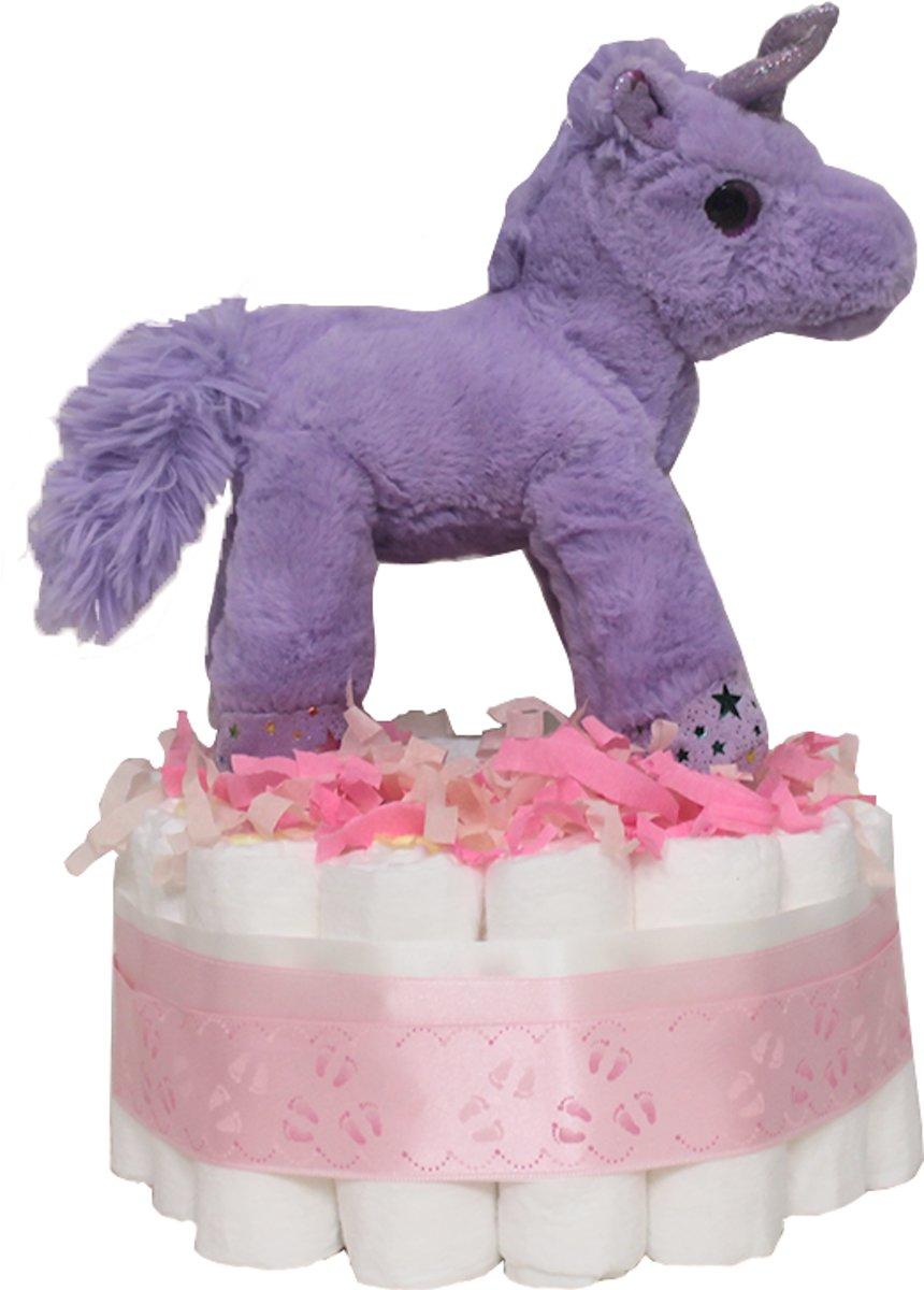 Pampertaart / Luiertaart eenhoorn / unicorn Meisje 2-lagen maat 3 (5-9kg), Kraamcadeau, Babyshower kopen