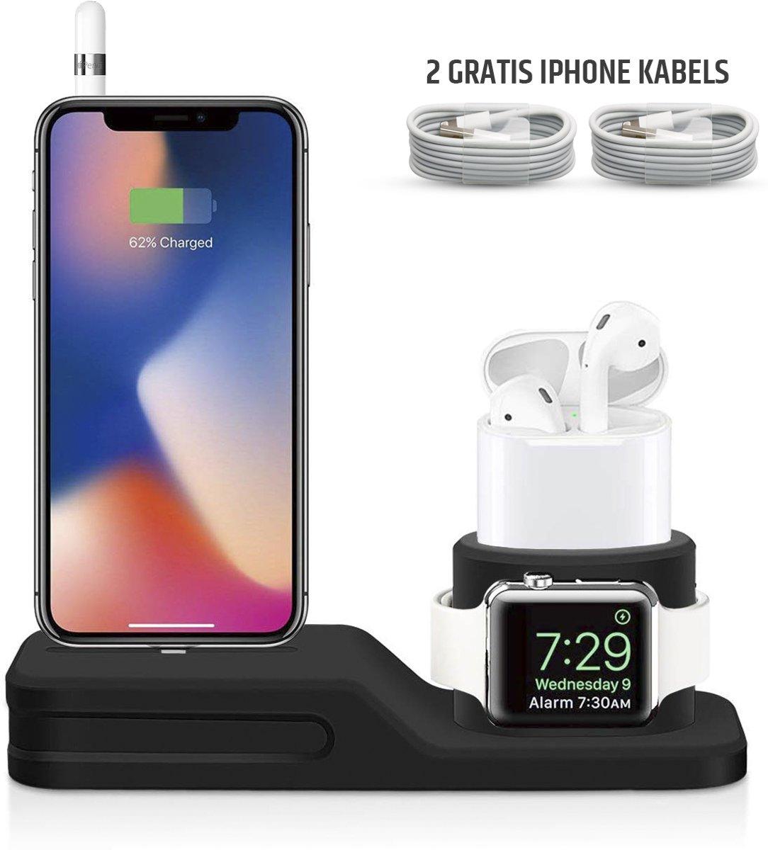iGadgets™ 4 in 1 Apple Docking Station - Oplaadstation voor Apple iPhone, Apple Watch, Airpods en Apple Pencil – Inclusief 2 Lightning Oplaadkabels – Hoogwaardig Siliconen Materiaal – Zwart – E Shoppr® kopen