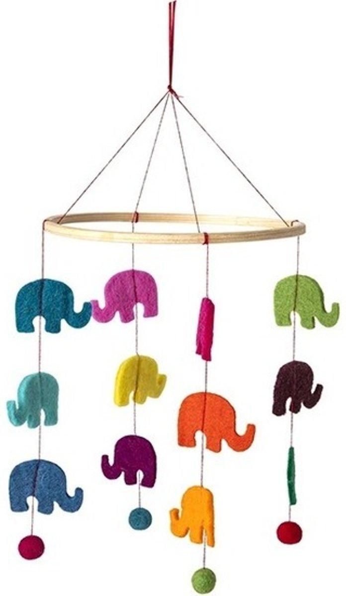 Olifant thema baby mobiel/boxmobiel 45 cm -  Hout/vilt - Babykamer/kinderkamer decoratie accessoires