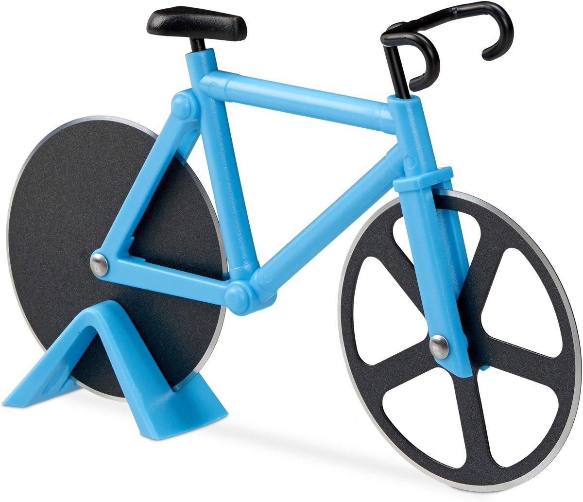 relaxdays pizzasnijder fiets - pizzames racefiets - pizzaroller - origineel - deegroller blauw kopen