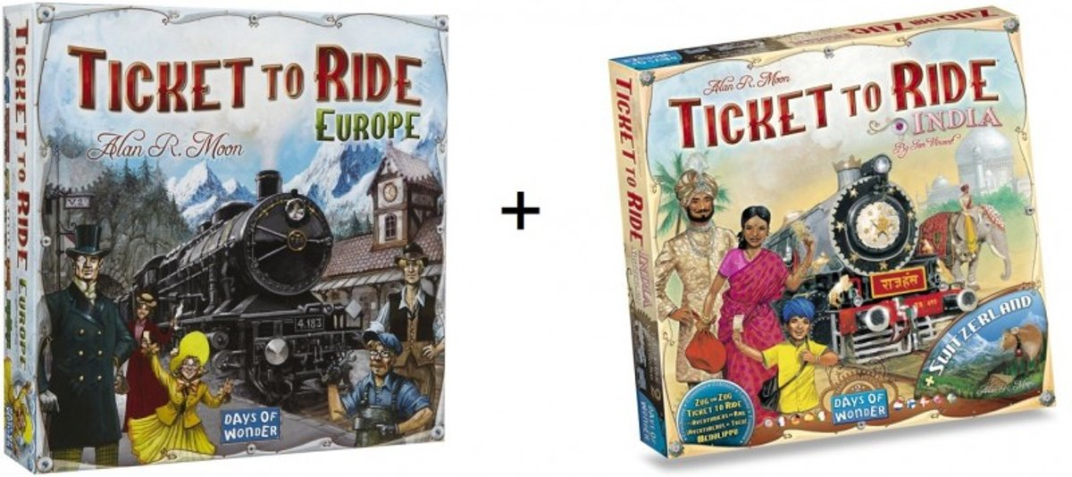 Spel - Ticket to ride Europe / Europa met Ticket to Ride  Map Collection - India/Zwitserland - Combi Deal