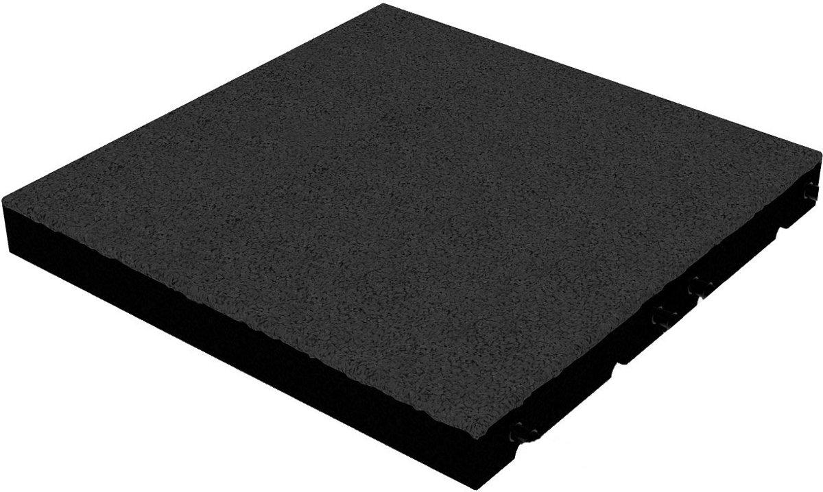 Rubber tegels 55 mm - 1 m² (4 tegels van 50 x 50 cm) - Zwart kopen