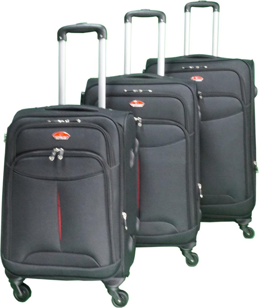 3 delig bagage stoffen koffer set 4 wielen trolley - Zwart kopen