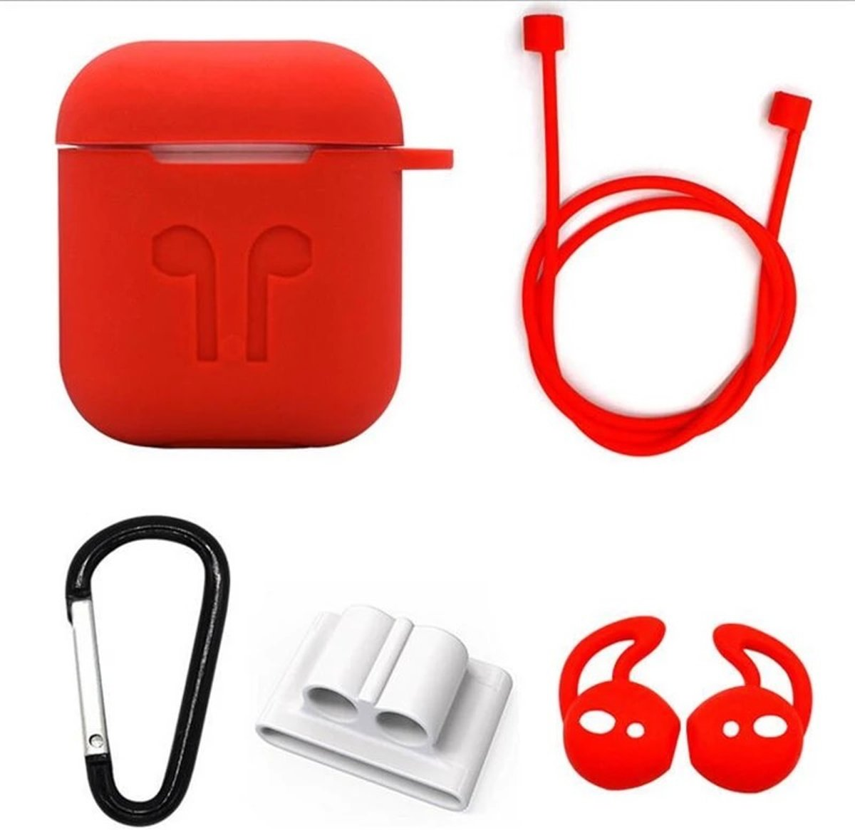 Siliconen Case Cover voor Apple Airpods - 5 in 1 set met Anti Lost Strap en Haak - Rood kopen