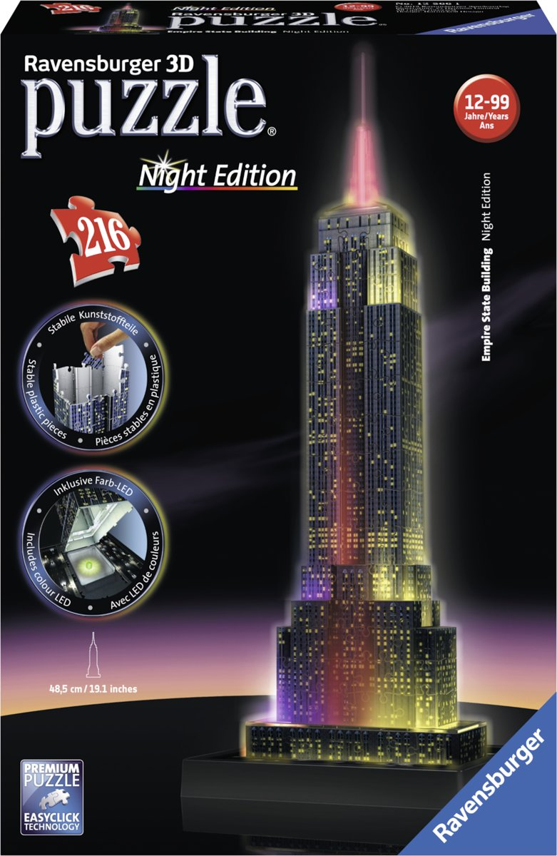 3D Puzzel - Empire State Building - Night Edition (216 stukjes)