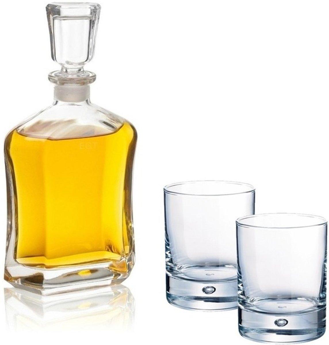 Whiskey set - karaf 0,7 liter en twee rechte whiskey glazen kopen