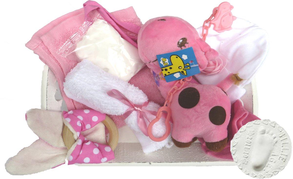 Kraam cadeau geboorte baby meisje dochter kraamcadeau 10-delig Nu met GRATIS speenketting.