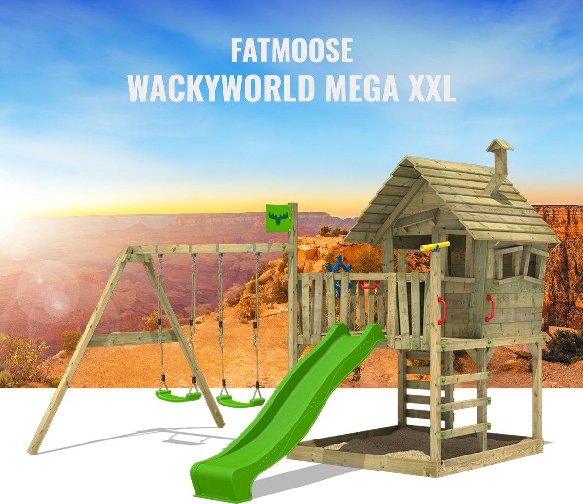 FATMOOSE WackyWorld Mega XXL - Speeltoestel met twee Schommels en Glijbaan