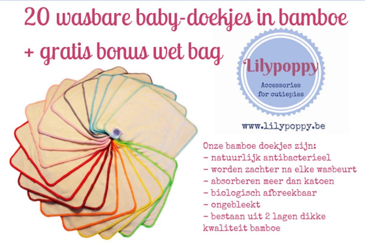 Bamboo wasbare billendoekjes voor handjes, snoetjes en billen met bonus wet bag voor onderweg kopen