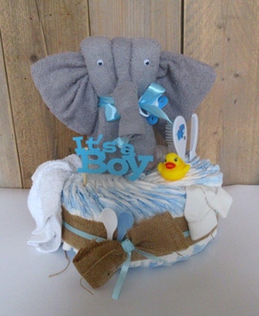 luiertaart olifant blauw