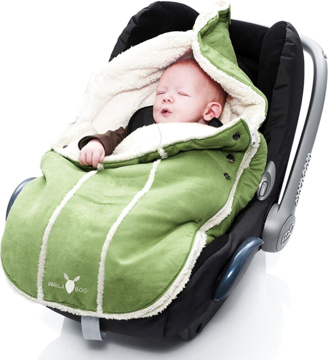 Wallaboo voetenzak - prachtig suède gevoerd met  bont - geschikt voor 0 tot 12 maanden - past in elk autostoeltje groep 0 - groen kopen