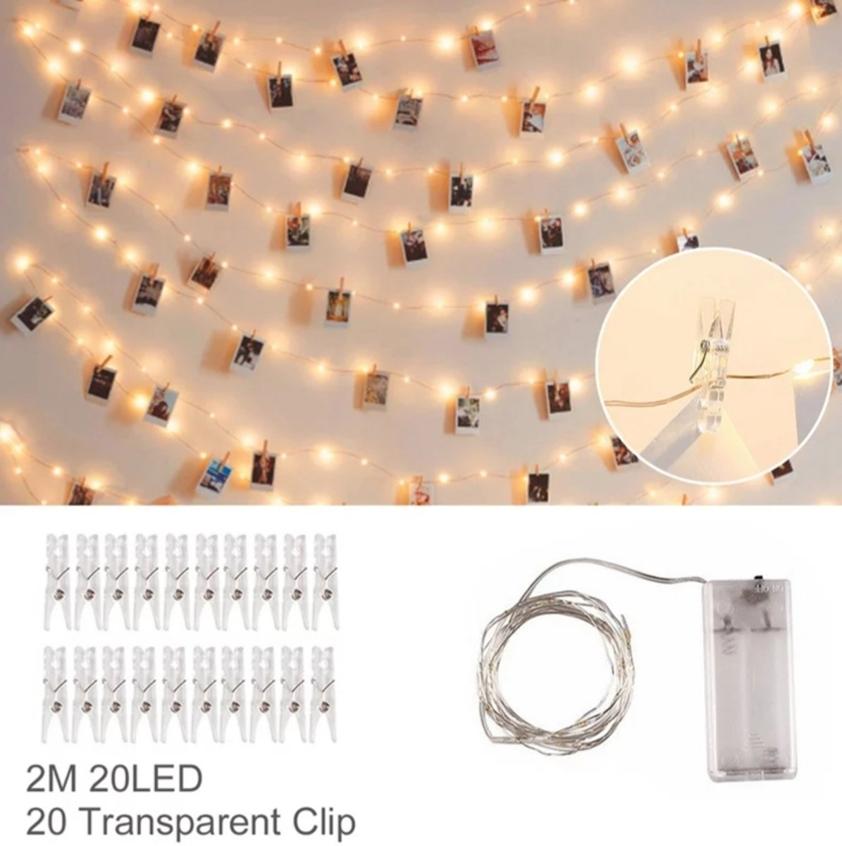 Led lampjes slinger - Foto knijpertjes - 2 meter - 20 lichtjes - Warm white - Kaarten houder - Kerst - Winter kopen