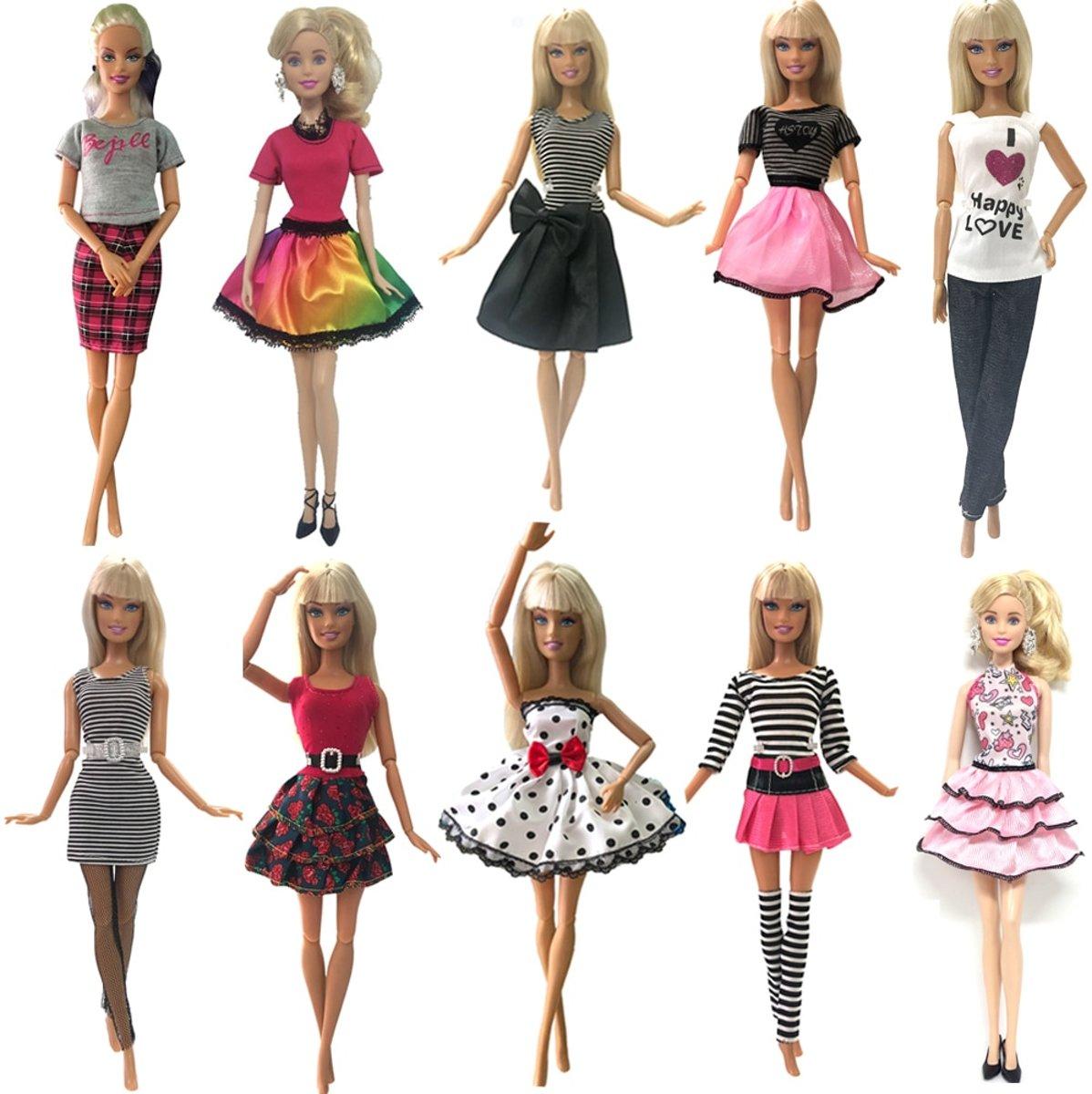 10 sets barbiekleding + verrassing - Jurkjes, rokjes, topjes, trui en broek - Fashion set voor modepop zoals Barbie